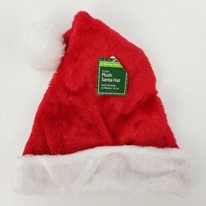 Holiday Time Christmas Red White Plush Santa Hat